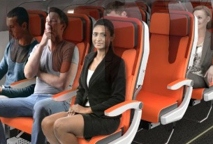 Could future economy class cabins have glass hygiene screens?