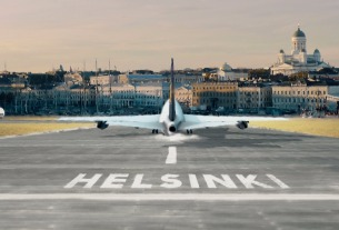 Helsinki Airport greets first flight from central China's Zhengzhou